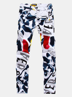 Casual Stylish Hip Hop Printing Straight Designer Jeans For Men