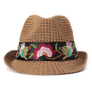 Women Ethnic Handmade Embroidery Sunshade Straw Hat Casual Visor Breathable Beach Jazz Cap