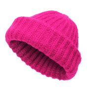 Mulheres Mens Retro Thick Knitted Beanie Caps Casual Warm Rolled Cuff Brimless Hat