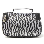 Portable Zebra Polyester Kosmetiktasche Toilettenartikel Handtasche mit Spiegel