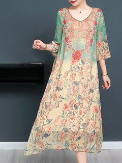 Layered 3/4 Sleeve Floral Print Vintage Mid-long Dresses