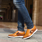 Men Height  Increasing Genuine Leather Side Zipper Retro Casual Shoes