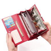 Women Solid Card Holder 6 Cards Long Wallet Phone Bag