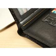 Genuine Leather Short Zipper Coin Bag Trifold Wallet For Men