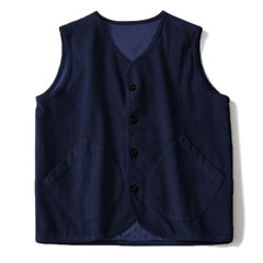 Mens Corduroy Vintage Sleeveless Jacket Single-breasted Loose Fashion Casual Vest