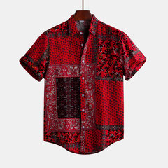 Mens Red Printed Summer Short Sleeve Turndown Collar Loose Casual Shirt
