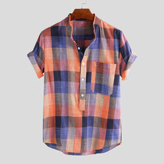 Mens Patchwork Plaid Short Sleeve Stand Collar Casual Loose Henley Shirt