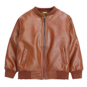 Boys Leather Jacket Toddler Kids Thicken Fleece Winter Coats For 2-15Y