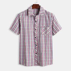 Camisa a cuadros para hombre con bolsillo en el pecho, manga corta y cuello caído Camisas informales