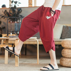 Seasonal Linen Cropped Trousers Male Chinese Style Embroidery Harem Pants Tide Japanese Loose Casual Feet Carrot Pants