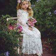 Lace Flower Bow Patch Girls Long Dress For 3Y-15Y