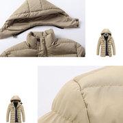 Manteau matelassé matelassé de coton uni à capuche et couleur unie pour hommes