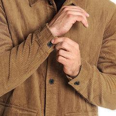 Casaco de veludo casual com bolsos laterais Slim Fit Camisa para homens