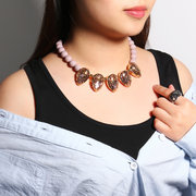 Silver Pink Beaded Necklace Hollow Flower Pear Shaped Rose Quartz Statement Necklaces for Women
