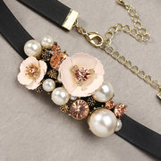 JASSY® Elegant Wedding Jewelry Set Flower Pearl Crystal Accessories Choker Bracelet Set Gift