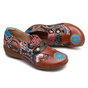 SOCOFY Super Comfy Folkways Retro Pattern Genuine Leather Splicing Jacquard Zipper Flat Shoes