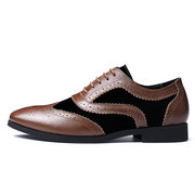 Men Brogue Color Blocking Stylish Oxfords Lace Up Business Formal Shoes
