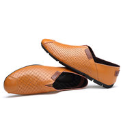 Men Hole Breathable Non Slip Large Size Soft Sole Slip On Casual Driving Shoes
