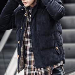 Corduroy Hooded Thicken Solid Color Cotton Padded Coat for Men