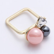 Fashion Cute Pink Pearl Geometric Accessories Square Rings for Women Party Jewelry