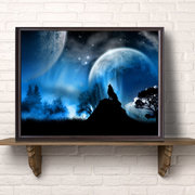 50x70cm Wolf Canvas Print Wall Art Premium Howling Wolf dans Moonlight Blue Home Office Deco Painting
