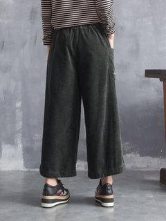 Pantalones de pana ancha con cintura ancha y cordón bordado