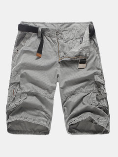 Mens Outdoor Multi-pocket Cargo Shorts Striped Printed Casual Knee Length Cotton Shorts
