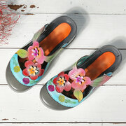 SOCOFY Genuine Leather Retro Splicing Flowers Pattern Stitching Adjustable Hook Loop Sandals