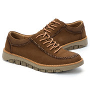 Men Cow Leather Hand Stitching Lace Up Casual Shoes