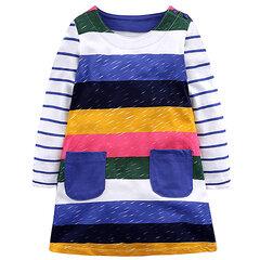 Flower / Stripe Printed Long Sleeve Girl Dress Vestidos infantis para roupas de meninas