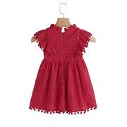 Lace Hollow Sleeve Girls Party Princess Dress For 1Y-9Y