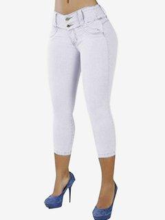 Donna Casual Jeans a Vita Alta in Colore a Tinta Unita