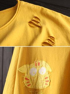 T-shirt da uomo a maniche corte ricamata con ricamo patch di gatto