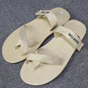 Big Size Flax Hook Loop Clip Toe Beach Casual Sandals