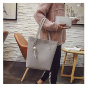 Women 3 PCS Tassel PU Leather Handbag Leisure Crossbody Bag Solid Shoulder Bag