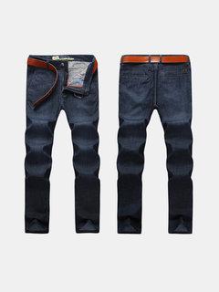 Business casual gamba dritta alta elastico tinta unita Jeans sottile per gli uomini