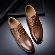 Chaussures formelles de grande taille en cuir véritable antidérapantes en cuir véritable pour hommes