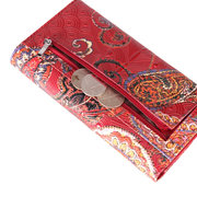 Brenice Genuine Leather Long Wallets National Chinese Style Purse Card Holder