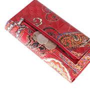 Brenice Portefeuille long ethnique en cuir véritable de style chinois porte-carte