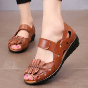 Peep Toe Leather Elastic Band Hollow Out Flat Comfortable Sandals