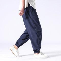 La vita elastica allentata solida casuale degli uomini Harlan Pantaloni retro cotone Pantaloni