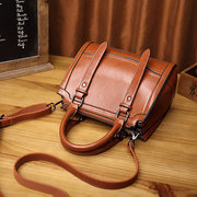 Women Faux Oil Wax Leather Handbags Large Capacity Vintage Crossbody Bags