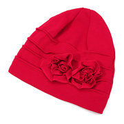 Women Side Plate Flower Cotton Beanies Cap Outdoor Warm Bonnet Hat