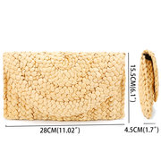 Women Summer Lovely Retro Straw Knitted Wallet Key Money Beach Long Bag Clutch