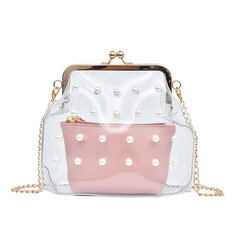 Women 2PCS PVC Hasp Pearly Shell Shoulder Bag Crossbody Bags