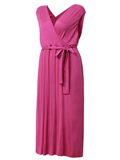 Women Party Deep-V Sleeveless Pleated Sexy Maxi Dress