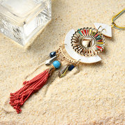 Bohemian Colorful Shell Pendant Necklace Long Tassels Sweater Necklace for Women