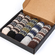 Mens Winter Warm Vintage Fashion Wool Calze Casual confortevole tubo centrale Calze A Scatola