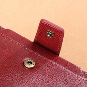 المرأة Bifold الصلبة جلد طبيعي المحفظة قصيرة 11 فتحة بطاقة خمر عملة المحفظة