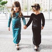 Детские Детские Бархатные Платье Дети С Длинным Рукавом Ретро Платье Принцесса Детская Одежда